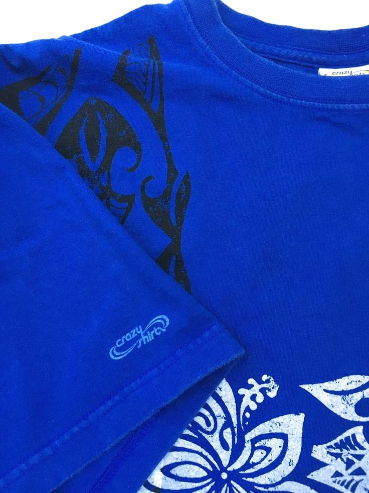 CRAZY SHIRTS HAWAII Island Style Graphic T-Shirt Blue Large Heavy Weight Cotton  | eBay