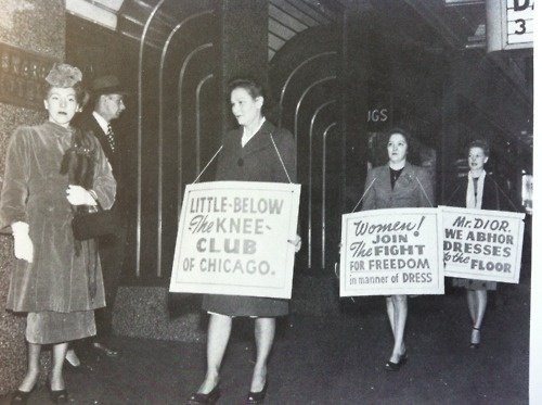 1947 A little below the knee clubHistory, Vintage Chicago, Chicago 1947, Vintage Fashion, Christian Dior, Chicago Protest, 1940, Knee Club, Littlebelowthekn Club