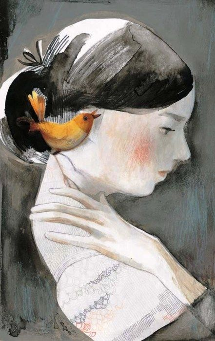 Emily Dickinson  by Isabelle Arsenault: The carriage held but just ourselves, And Immortality.
