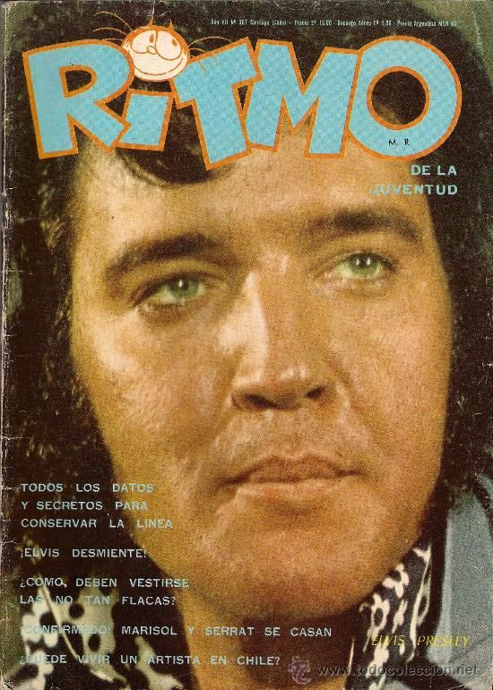 ELVIS PRESLEY portada revista chilena RITMO de la juventud 1972