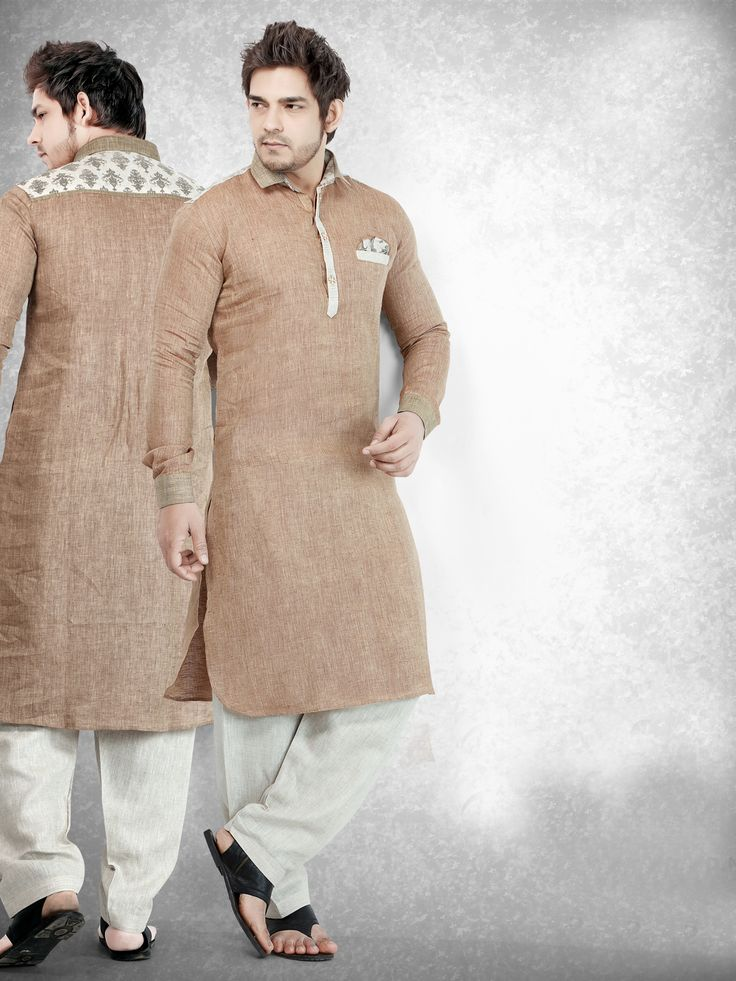 Cotton Brown Solid Festive Men Pathani Suit