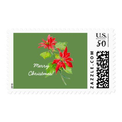 Red and Green Vintage Poinsettia Merry Christmas Postage - christmas cards merry xmas diy cyo greetings