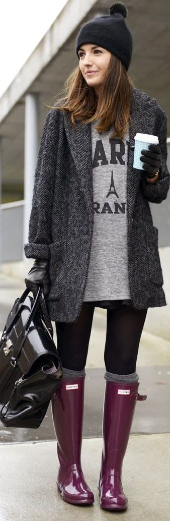 cool outfit / coat + hat + bag + printed top + black skinnies + high boots