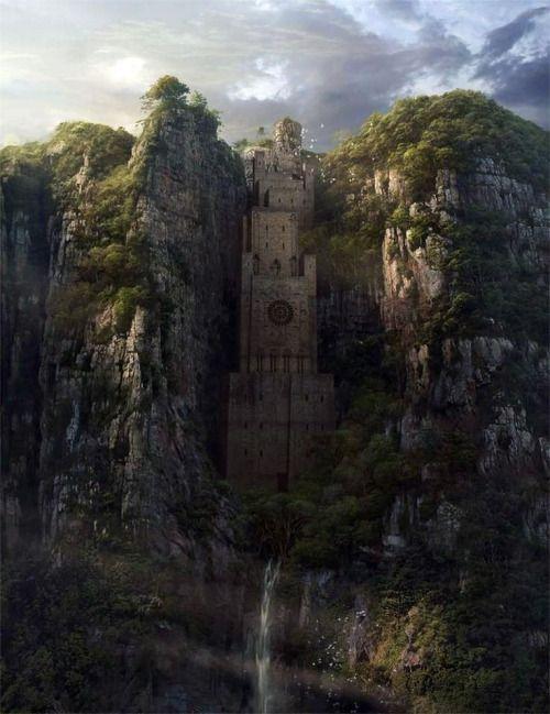 fantasyartwatch:  Castle in the Green Cliffs by Yong Park
