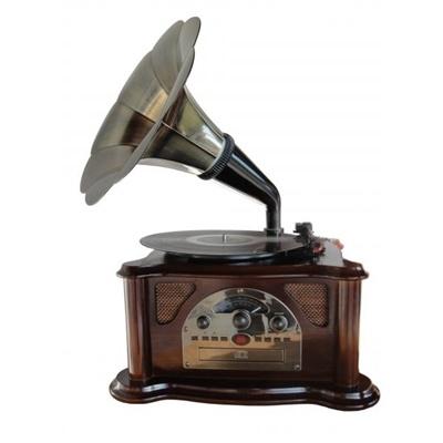 Toca-Disco Gramophone Retro Texas 33.752    O novo Toca-Disco Gramophone Retro Texa mistura o clássico, o moderno e o retrô, seu ambiente vai ficar criativo e estiloso com o charme e elegância dos anos 20 aliado a tecnologia dos dias atuais.    - Rádio AM/FM  - CD player  - Entrada USB para pen drive e cartão de memória SD Card  - Toca disco 3 velocidades  - Bivolt