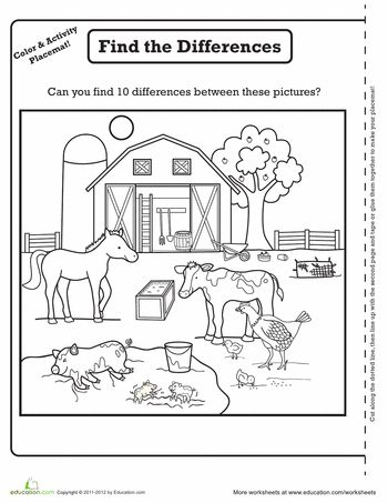 Worksheets: Farm Activity Placemat