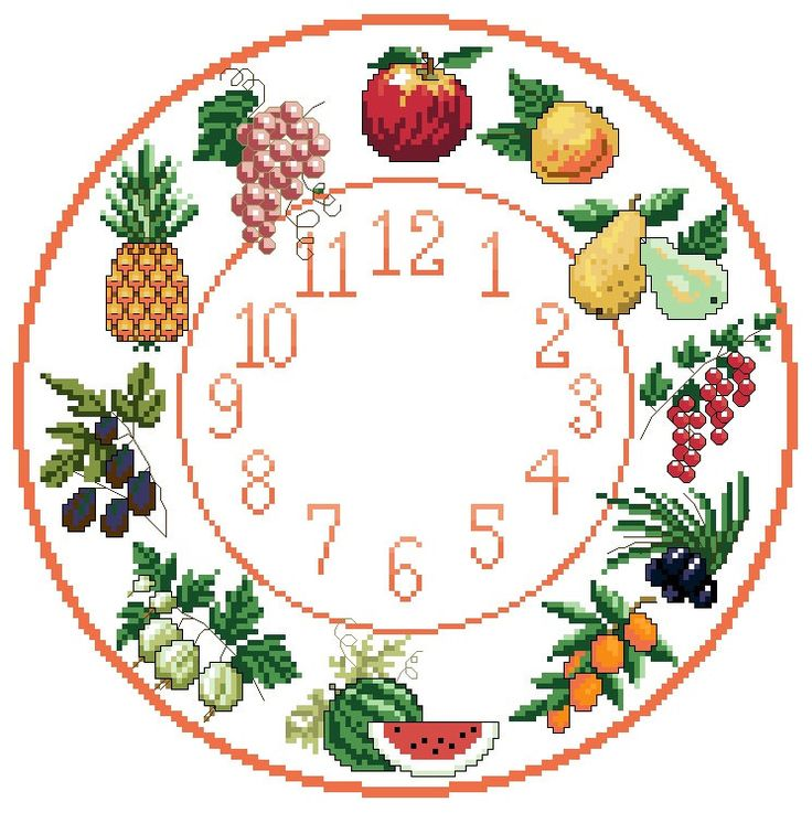 A personal favourite from my Etsy shop https://www.etsy.com/uk/listing/229632771/fruit-themed-cross-stitch-clock-chart