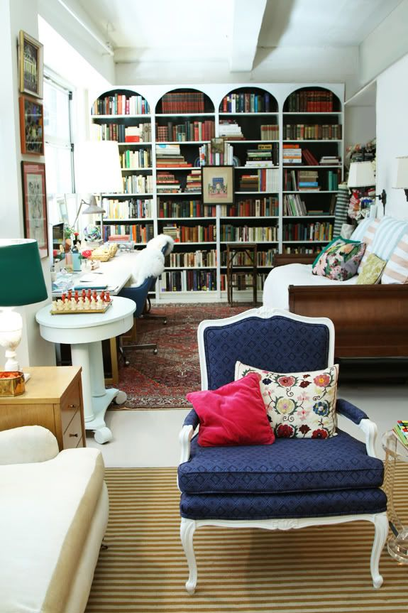 I like the comfy sofa bed!  Little Green Notebook: Thinking about my home office