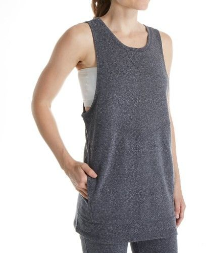 Steve Madden Active SMT33757 Lace Up French Terry Sleeveless Tunic Top (Black Tea M)