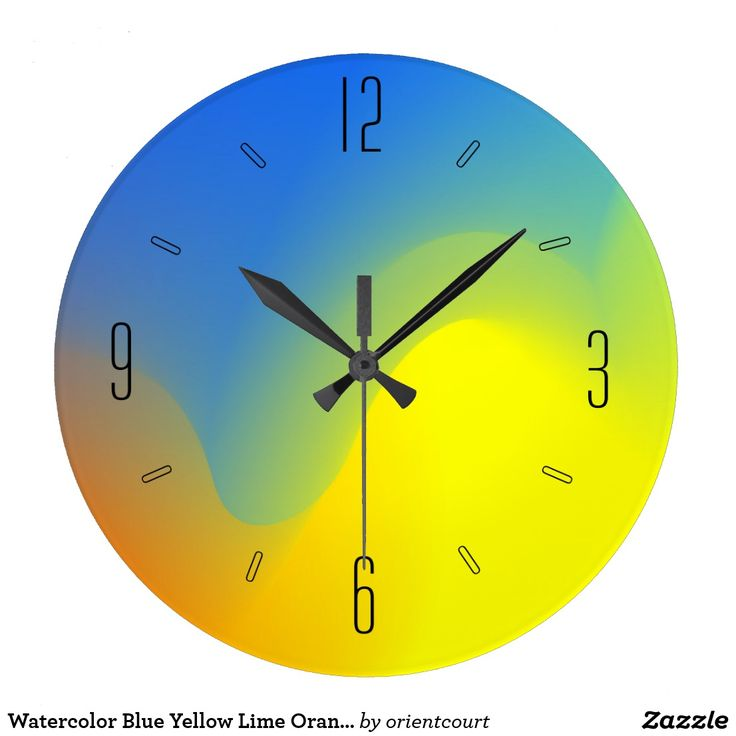 Watercolor Blue Yellow Lime Orange Artistic Clock