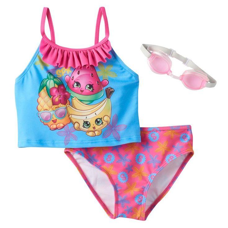 Girls 4-6x Shopkins Pineapple Crush, Melonie Pips & Buncho Bananas Ruffle 2-pc. Tankini Swimsuit Set, Size: 4, Multicolor
