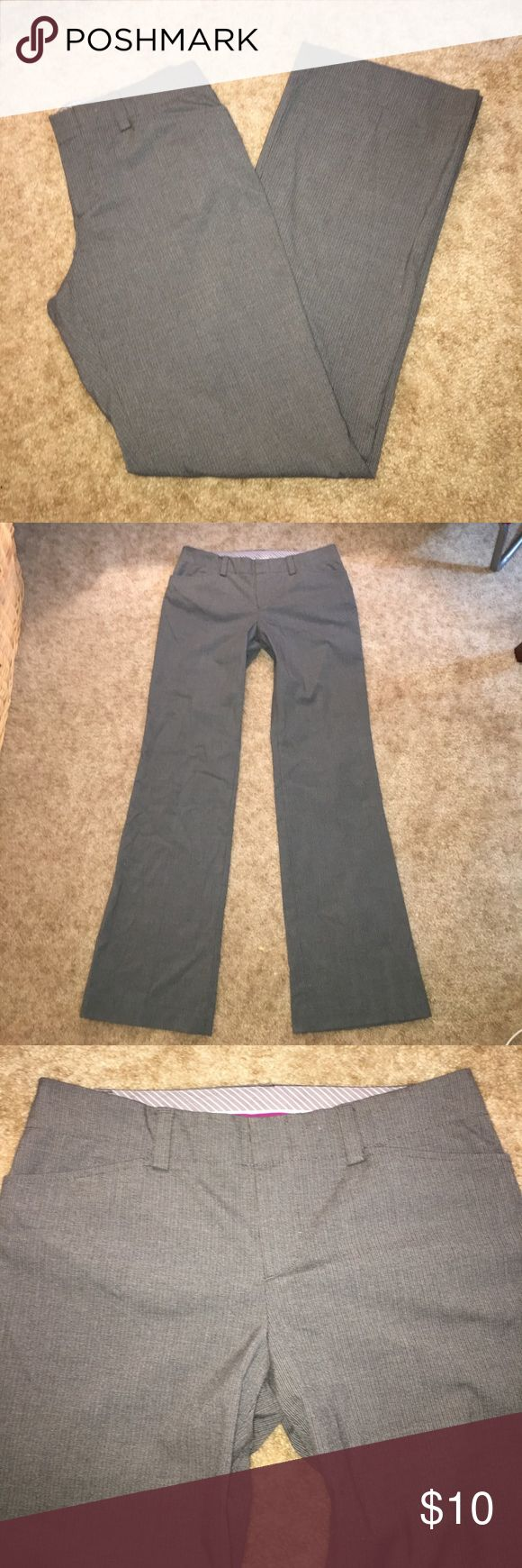 GAP Curvy Fit Dress Pants Wide leg opening grey dress pants with hint of pinstriping. In excellent condition, these are a size 6 LONG. GAP Pants Trousers