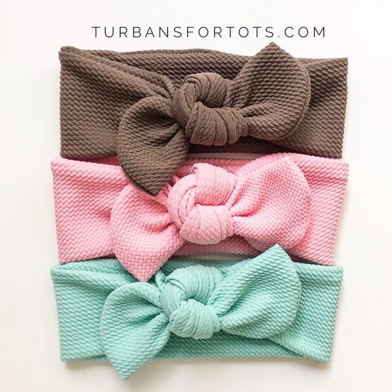 Sweet Babe Textured Set : {3 items} Cocoa, Sweet Pink & Mint Textured top knots