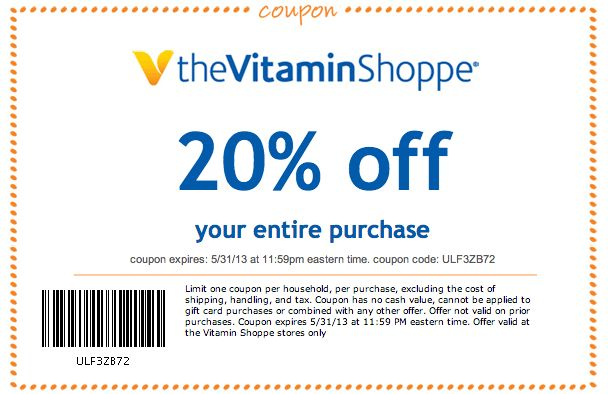 Vitamin Shoppe 20 Off Printable