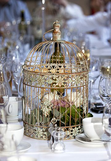 Vintage Birdcage #2-If your white bird cage is large enough I have something cool to share to put on top but for your eyes and ears only! This would be perfect to hold the cards and as a centerpiece for the gift table