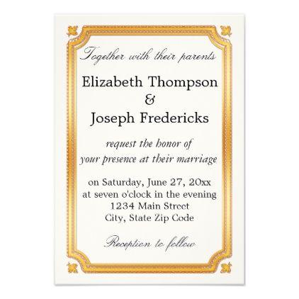 Elegant Gold Border Wedding Invitation Gold Wedding Pinterest