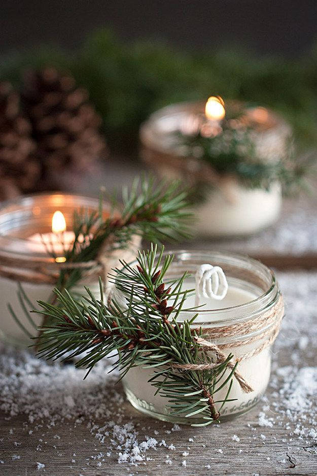 Make pine-scented candles to celebrate an upcoming winter wedding.