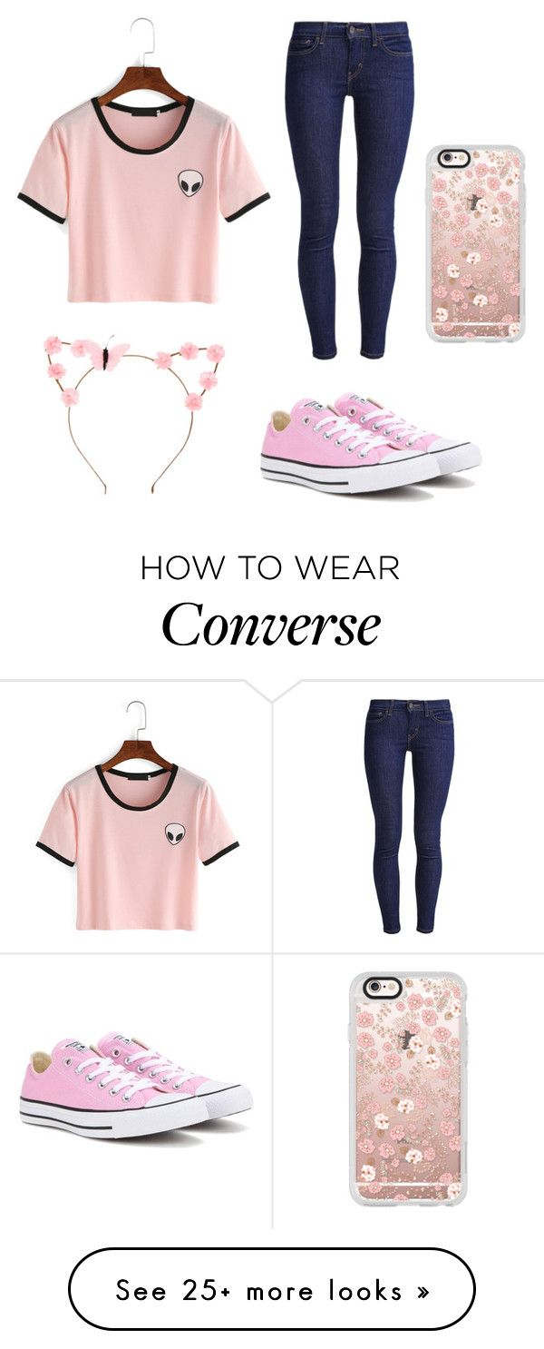 """Pink goddess"" by gretchenlover on Polyvore featuring Levi's, Converse, Casetify and claire's"