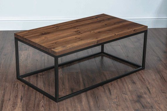 Solid Wood Metal Coffee Table Industrial Rustic Square Tube