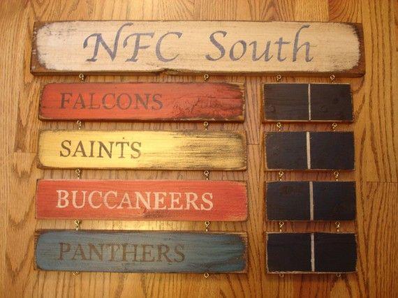 John/Jackson man cave/playroom    NFC South Standings board Atlanta Falcons by MyRusticBoardSigns, $84.00