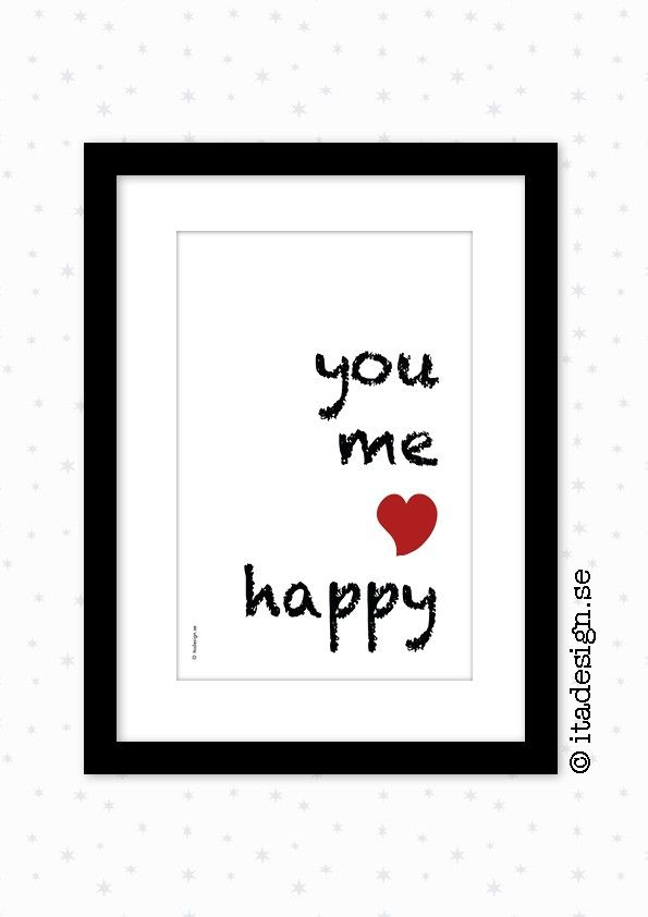 "Poster ""You Me Happy"", by Ita Design #nordicdesigncollective #itadesign #poster #youmehappy #heart #words #letters #black #frame #red #gift"