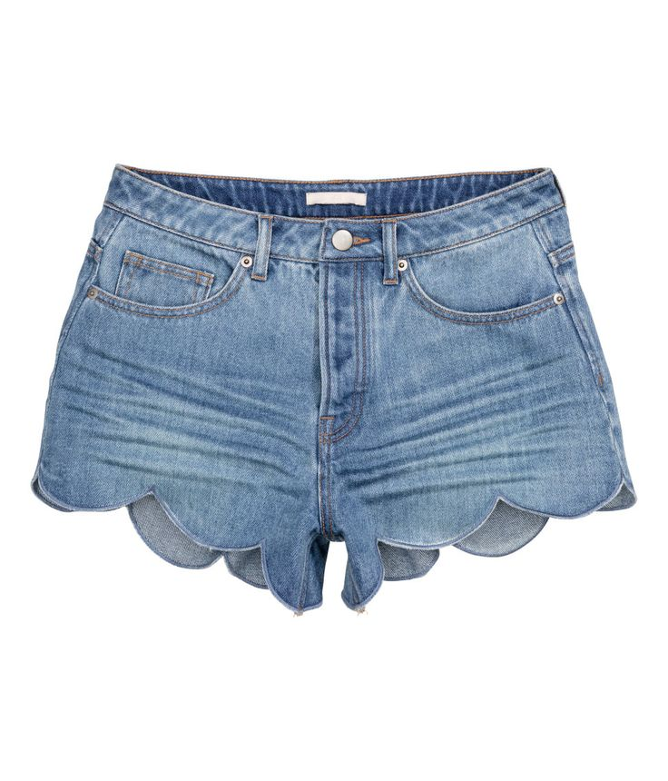 Short, low-rise shorts in washed denim with a button fly | H&M Denim