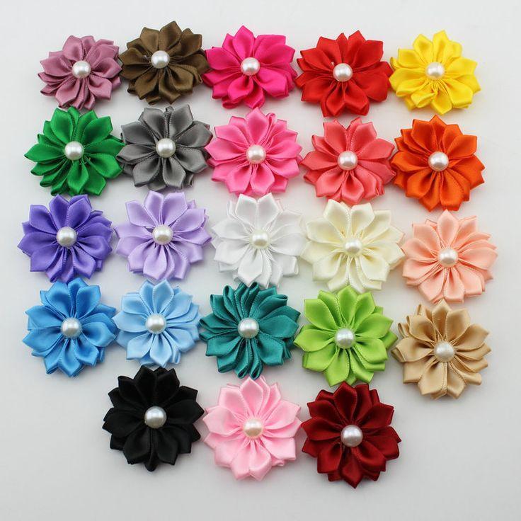 2015 butik Mini Multilayers bunga satin, Pita bunga, Rambut mutiara rambut bunga, / Aksesoris pakaian