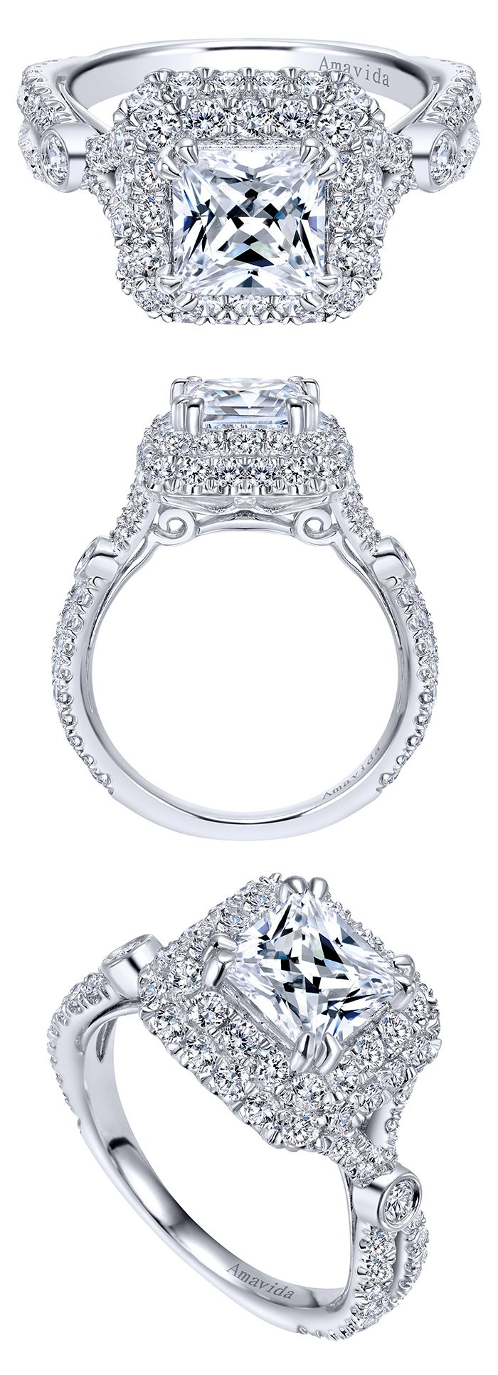 A million times yes! An absolutely gorgeous Amavida Bridal 18k White Gold Contemporary Halo Engagement Ring by Gabriel & Co. that has perfect diamonds all over it. This engagement ring has a beautiful double halo with gorgeous details on the sides making it so unique and special!