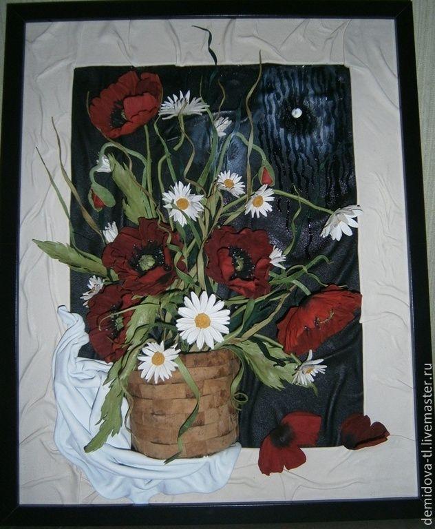 """Купить картина из кожи """"Дождь за окном"""" - маки, маки натюрморт, ромашки"""