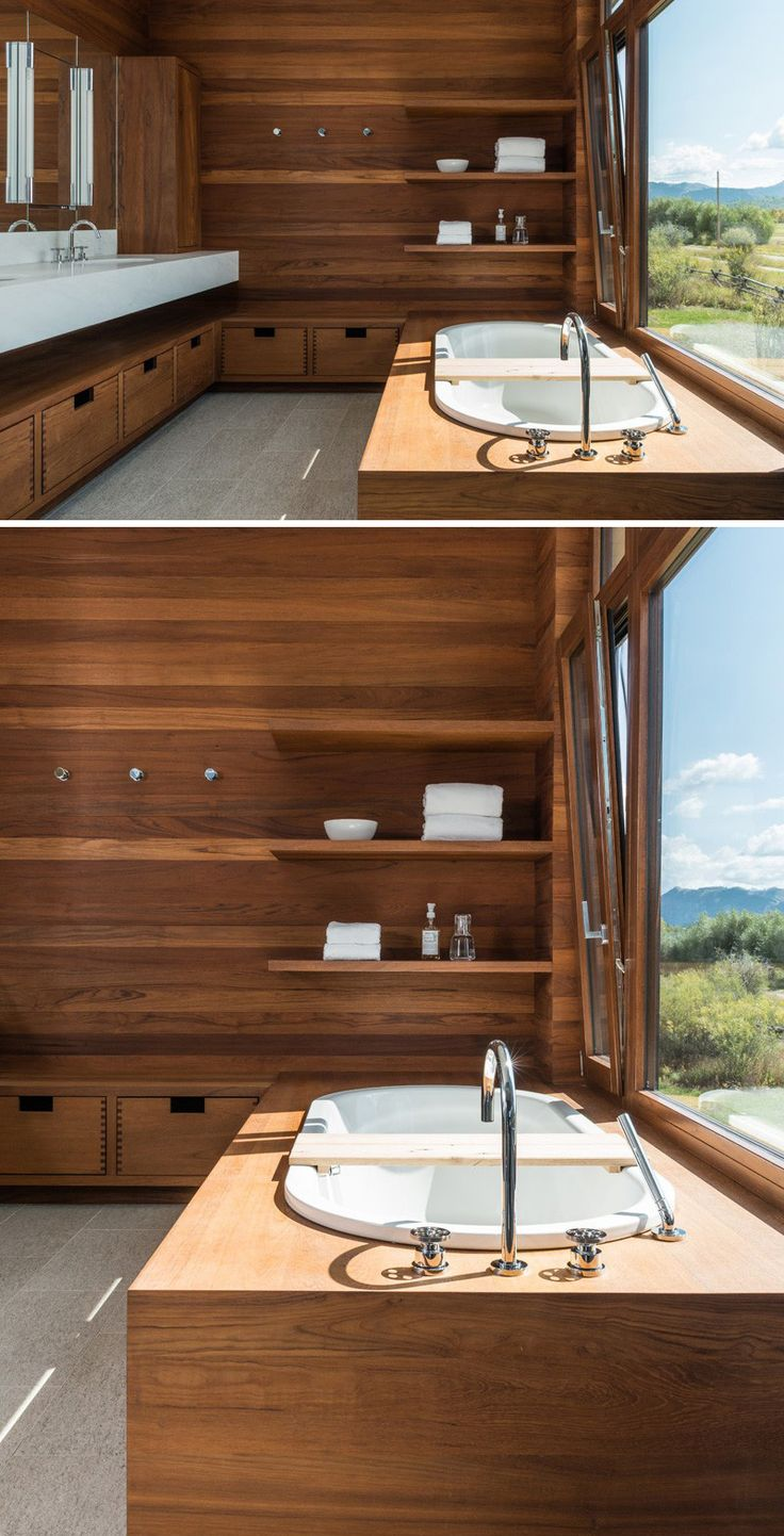A Teak Bathroom With Views Of Wyoming