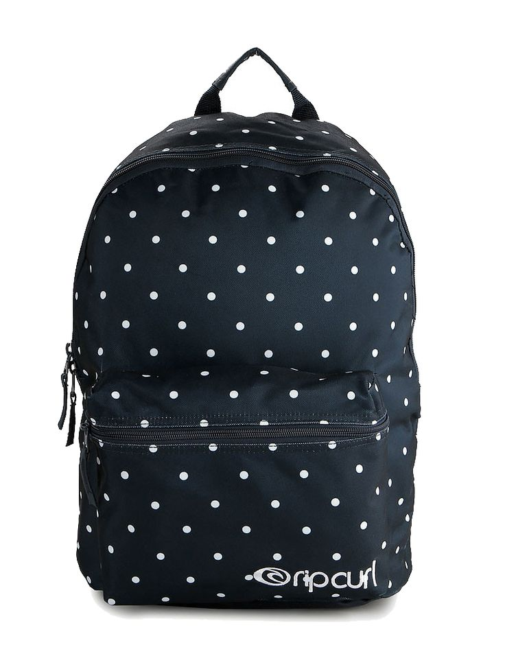 Confetti Dome Backpack by Rip Curl. Backpack that made from polyester with navy color, one main compartment, front pocket, zipper closure, polka dot pattern print all over the backpack, adjustable padded strap.   http://www.zocko.com/z/JGEex