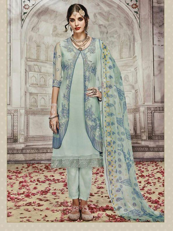 Mumtaz Pakistani Designer Blue Salwar Kameez