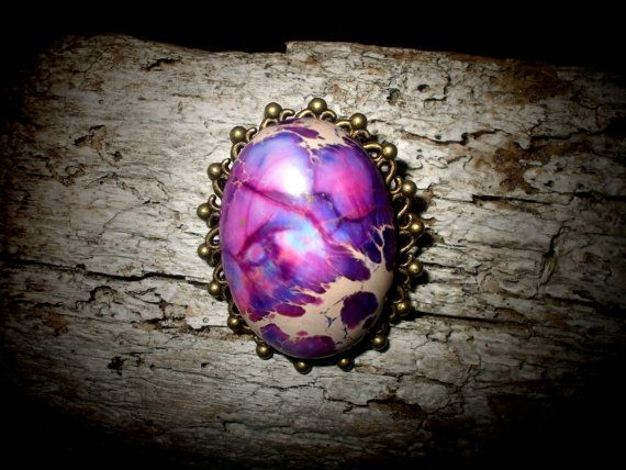 Purple Jasper Cameo Brooch with Antique Bronze Brooch #brooch #FantasyJewelry #steampunk #dragonegg