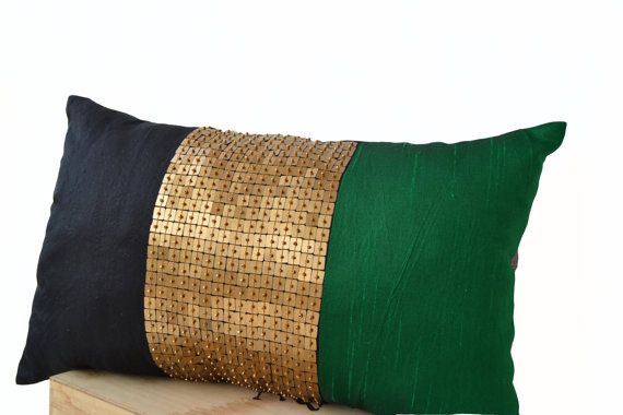 Throw Pillows  Emerald green black gold color block by AmoreBeaute