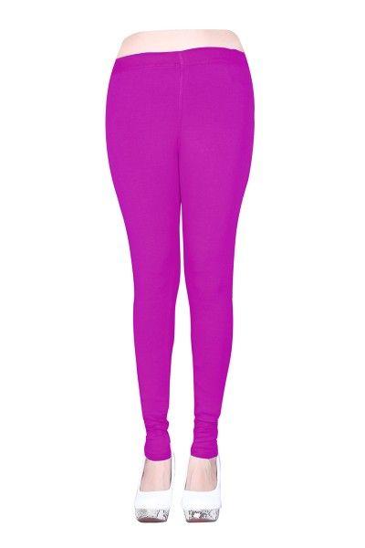 Violet Cotton Casual Wear Plain Leggins