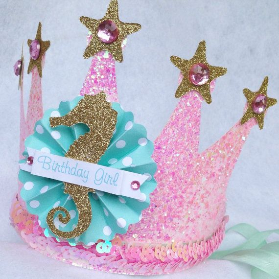 Sparkly Mermaid Princess Crown Party Hat in Pale Pink, Gold and Mint Seafoam The…