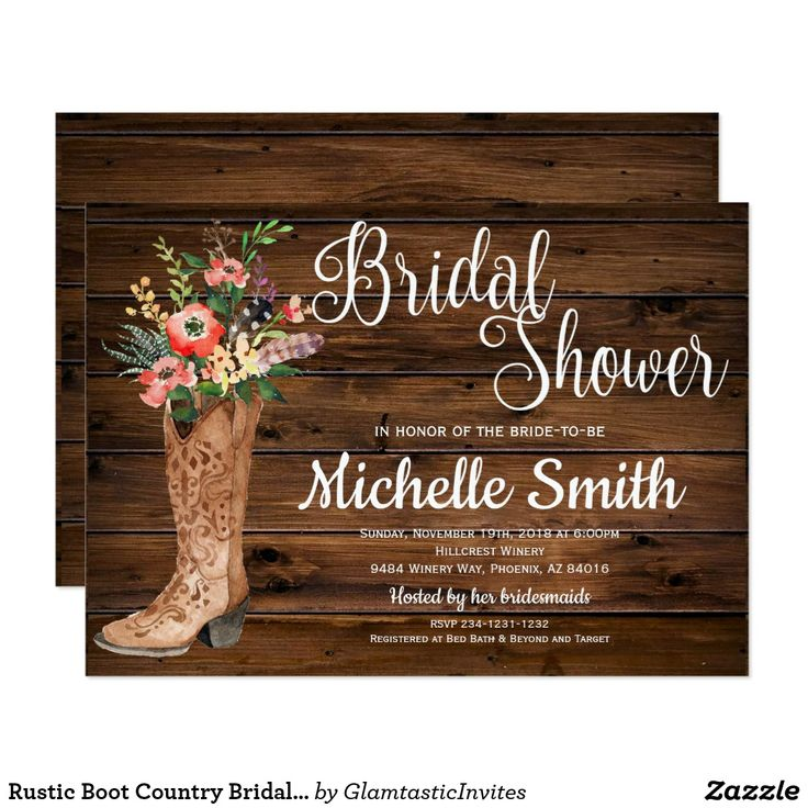 Rustic Country Chic BRIDAL SHOWER Cowboy Boot Barn Wood Pretty Personalized Western Bridal Shower Invite Announcement Invitation Card  #bridalshower #rustic