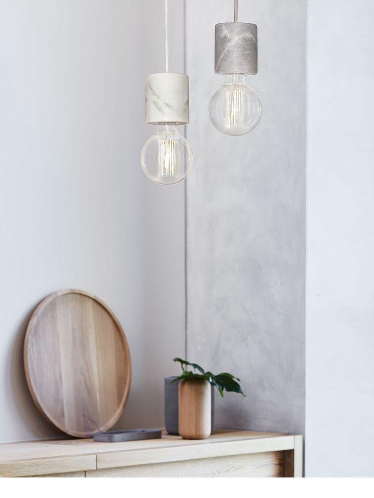 Flair 1 Light Pendant in White Marble