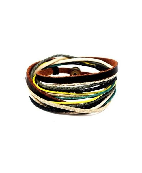 Multi Colored Cowleather and Hemp Bracelet Pack