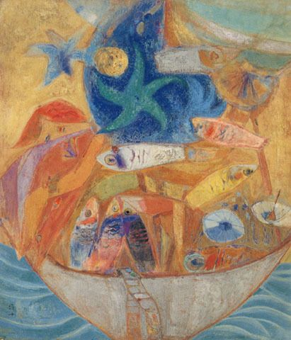 (Korea) Full Boat,1971 by Chun Kyung-ja (1924-2015). 천경자. 만선.