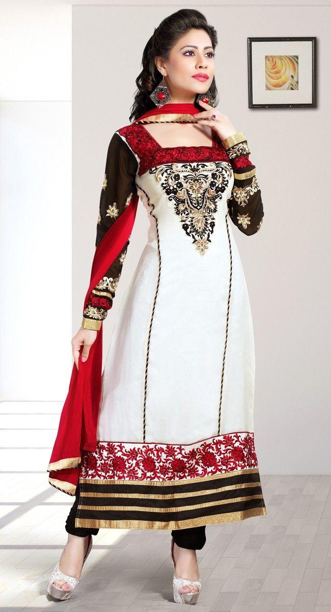 Black and Off White color Straight Suits-Georgette Salwar Kameez
