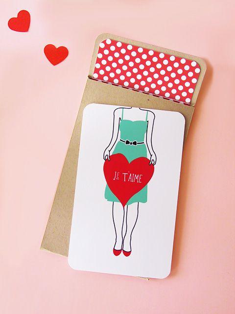 Valentines Day- 'Je t'aime' printable mini card sets