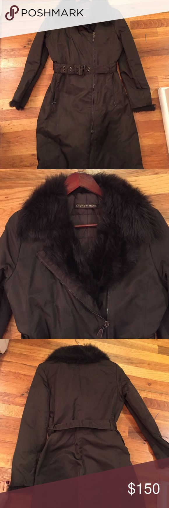 Andrew Marc quilted fur color coat Brown Andrew Marc quilted very light and warm Thermolite belted rain coat.  Like new Andrew Marc Jackets & Coats