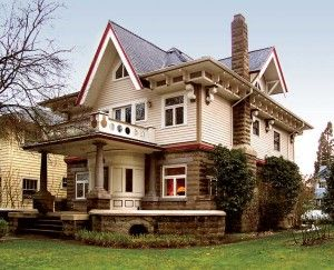 "Alfred Faber's striking designs, like this 1910 example in Ladd's Addition, often feature ""Miracle"" cast stone and exaggerated gables and brackets."