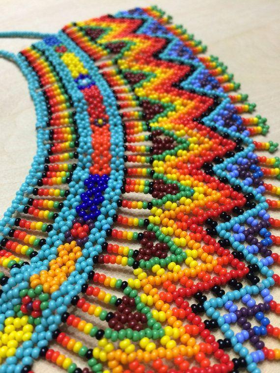 Colorful VALERIA beaded necklace Choker by ArtesaniaHUICHOL