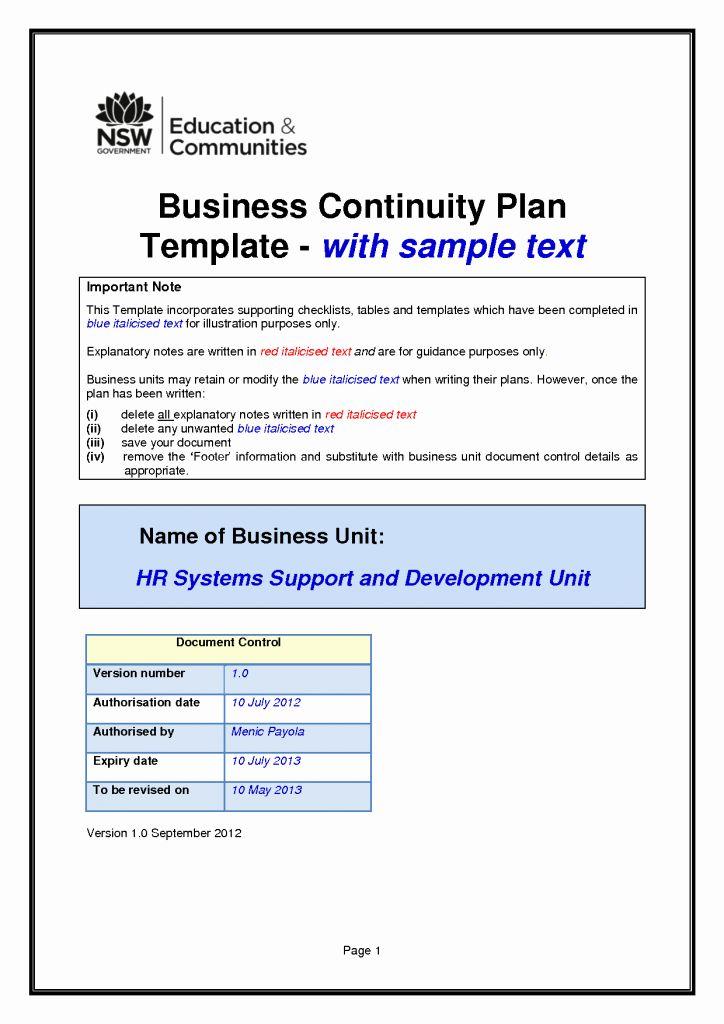 Business Continuity Plan Sample Unique Business Continuity Plan Template Business Continuity Planning Business Continuity Business Contingency Plan