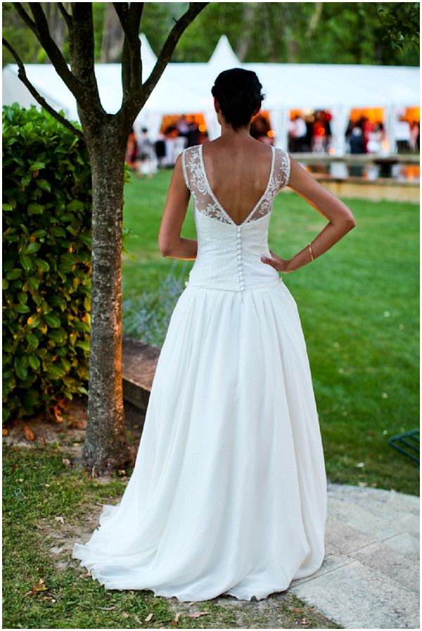 """low back wedding dress - this kind of lace """"sleeves"""" I like!"""