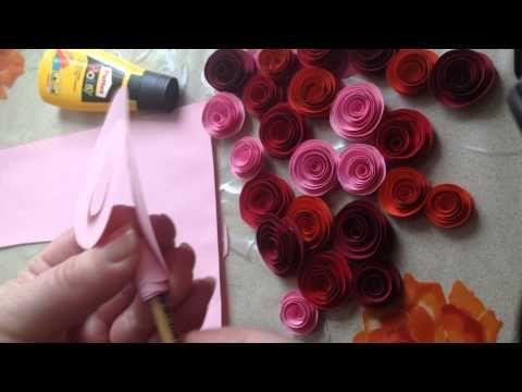 Бумажные розы легко и очень быстро за 5 минут своими руками из цветной бумаги - YouTube