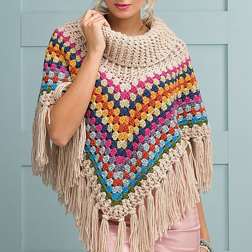 The cowl-neck poncho is a high street hit this season, but Simone Francis's colourful, fringed version beats others hands down for fun and snuggliness. The wool and alpaca mix yarn makes for a sure-fire winter warmer and cosy cover-up. Practise those post treble stitches to make the ribbed cowl neck and edging, then work simple granny trebles for the main body of the garment.