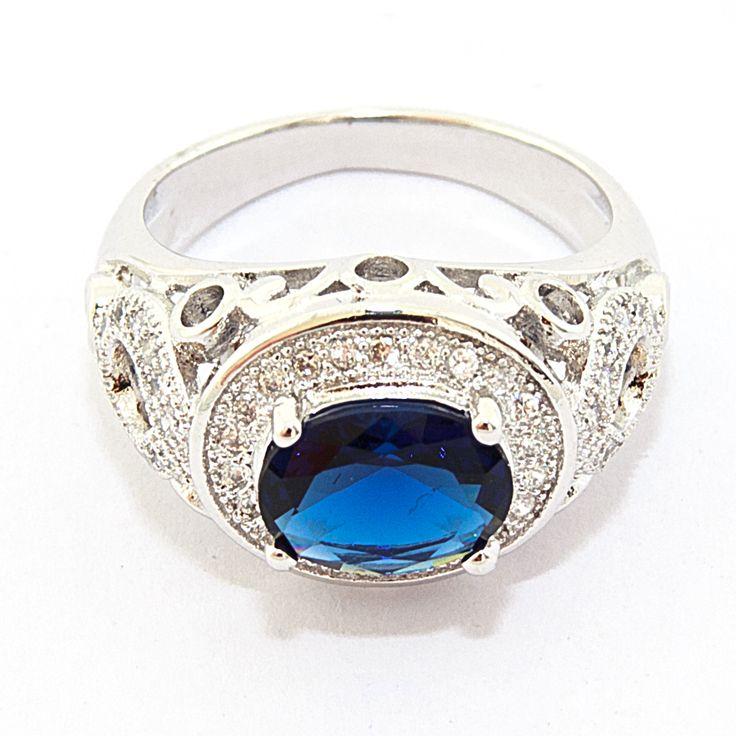 """Кольцо """"Blue Oval"""", бижутерный сплав, крупный синий кристалл, цена 160 грн, beauty-mix.com.ua"""